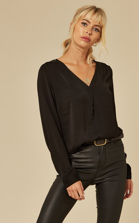 V Neck Long Sleeve Blouse In Black by VILA Product photo