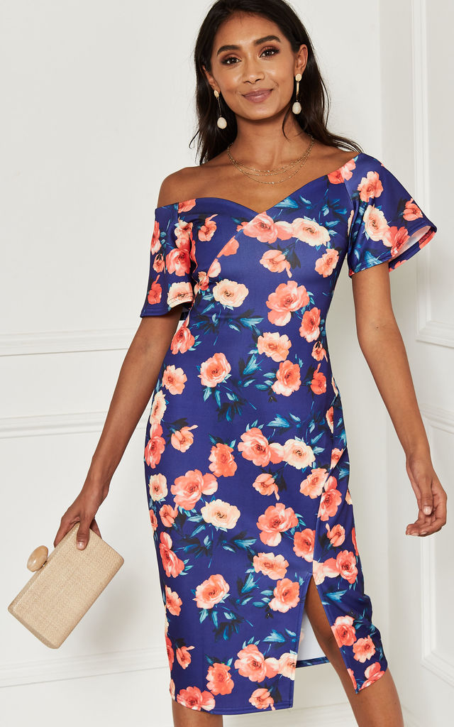 Off Shoulder Midi Dress with split in blue floral by Bella and Blue