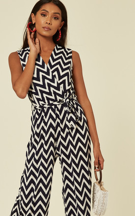 Sleeveless Wrap Front Jumpsuit in Navy ZigZag Print by Mela London