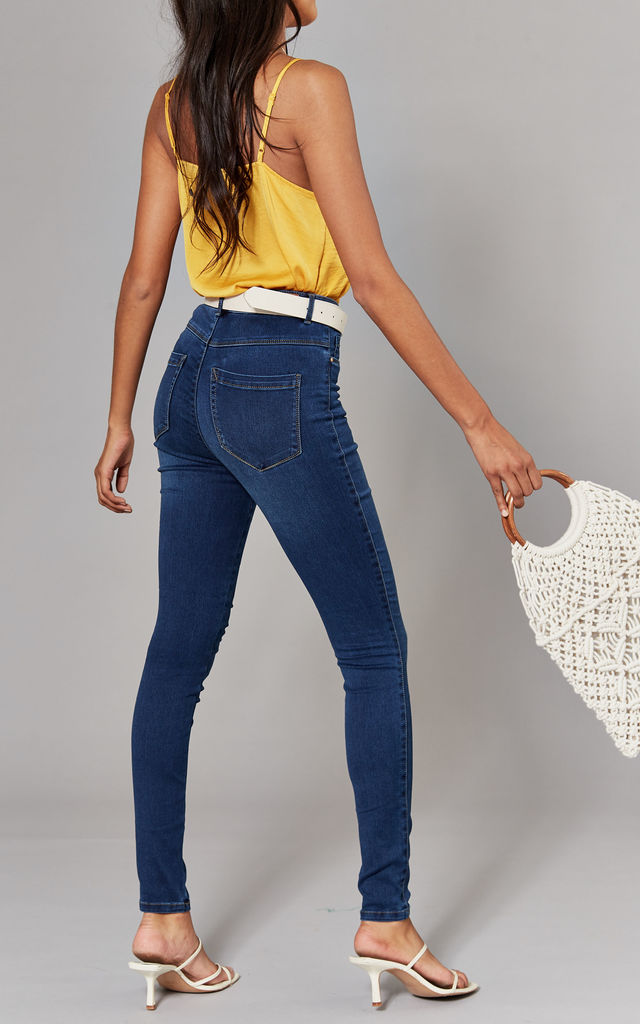 Dark Blue High Waist Skinny Denim Jeans by ONLY