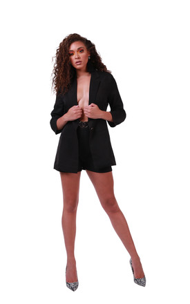 The Chelsea Black Blazer and High Waisted Short  Suit/ Co-ord by 21st Mill