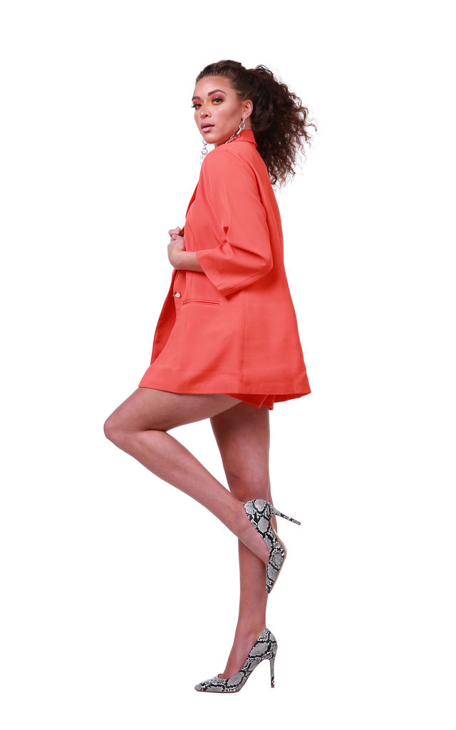 The Chelsea Coral Orange Blazer and High Waisted Short  Suit/ Co-ord by 21st Mill