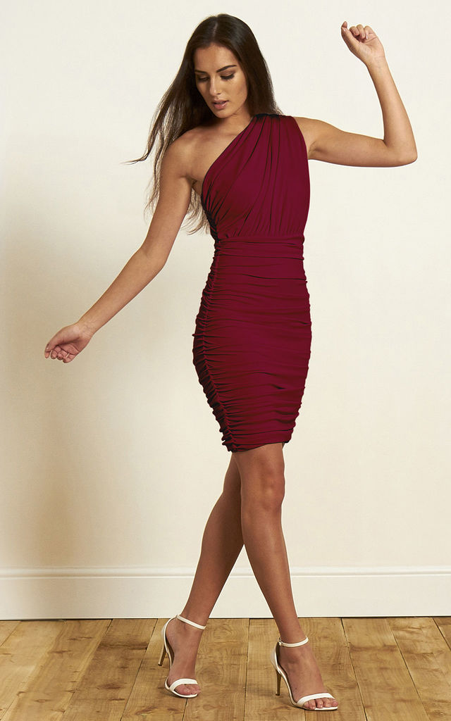 The Wren One Shoulder Bodycon Dress in Deep Magenta by Gorgeous Couture