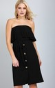 Button Down Bardot Midi Dress with Belt in Black by Oops Fashion