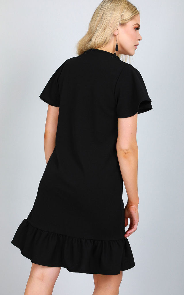 Button Up Frill Sleeve Dress in Black by Oops Fashion