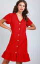 Button Up Frill Sleeve Dress in Red by Oops Fashion