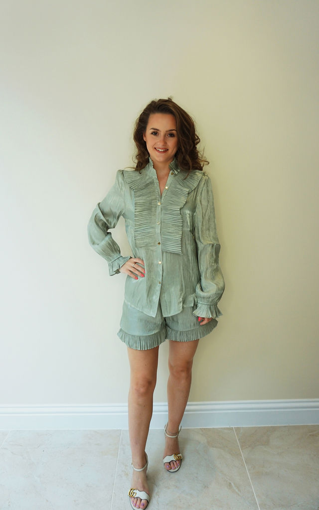 Ruffle Long Sleeve Shirt and Shorts Co-Ord Set in Turquoise Green by Styled Clothing