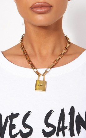 GOLD MOON PADLOCK NECKLACE by The Fashion Bible