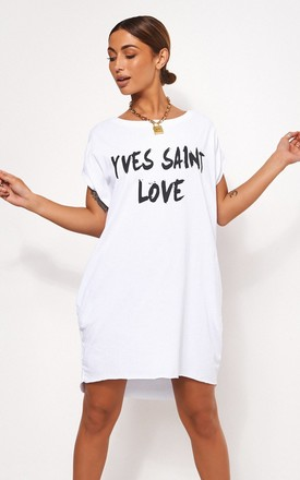 241810860 White Oversized Slogan T Shirt Dress by The Fashion Bible Product photo