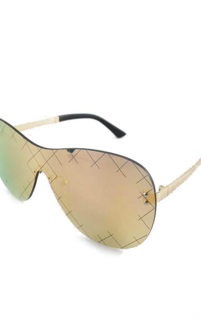 Rimless Shield Cross Pattern Sunglasses in Gold by Urban Mist