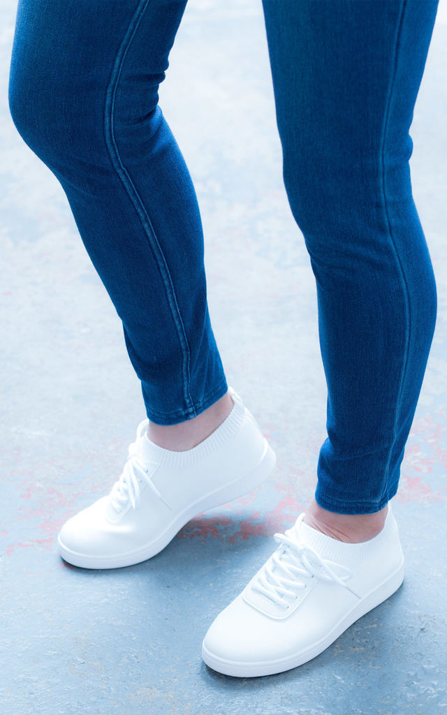 LECCE Lace Up Knit Trainers in White by SpyLoveBuy