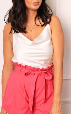 Strappy Cowl Neck Satin Cami Vest Top In White by One Nation Clothing Product photo