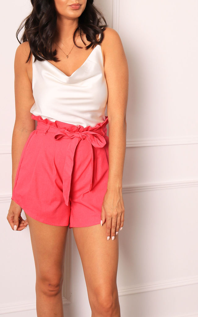 High Waisted Paperbag Shorts in Fuchsia Pink by One Nation Clothing
