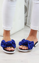 Cobalt Blue Bow Slip On Comfy Sandals by Larena Fashion