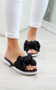 Black Bow Slip On Comfy Sandals by Larena Fashion
