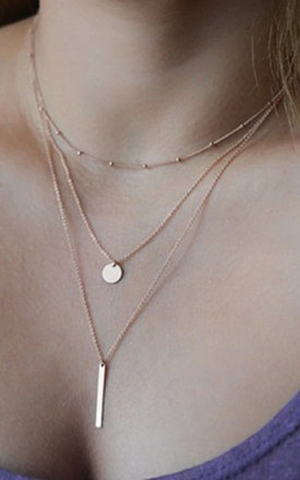 Gold Layered Circle Bar Drop Necklace by HAUS OF DECK