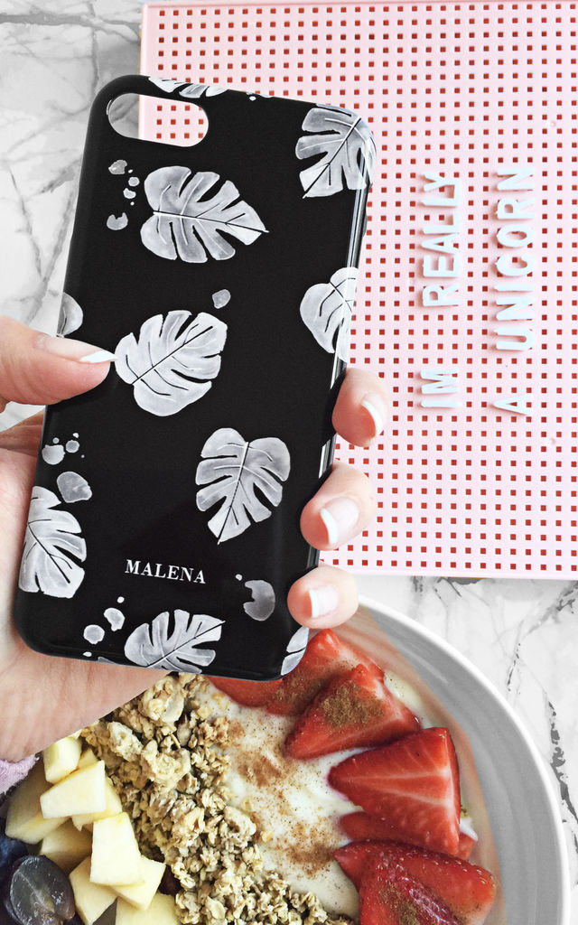 Personalised tropical leaf black and white phone case by Rianna Phillips