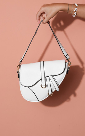 Faux leather saddle shoulder bag white by LILY LULU FASHION