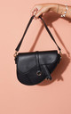 Faux leather saddle shoulder bag black by LILY LULU FASHION