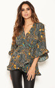 Green Printed Wrap Frill Top by AX Paris