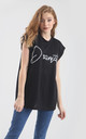 'Dramatic' Relaxed Fit Slogan T-Shirt in Black by Oops Fashion