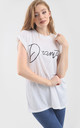 'Dramatic' Relaxed Fit Slogan T-Shirt in White by Oops Fashion