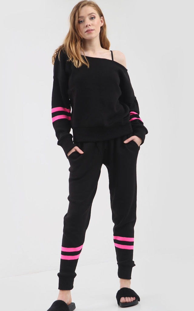 Knitted Loungewear Set in Black and Neon Pink by Oops Fashion
