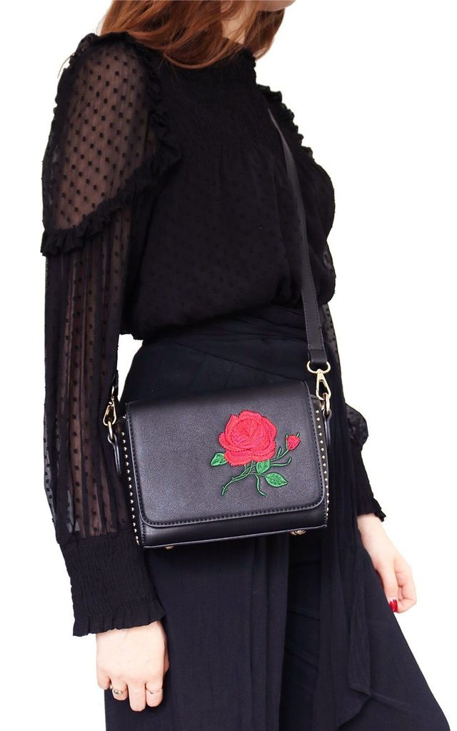 Rose Black Embroidered Shoulder Bag by AVAAYA