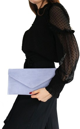 Lavender Suede Clutch Bag by AVAAYA Product photo