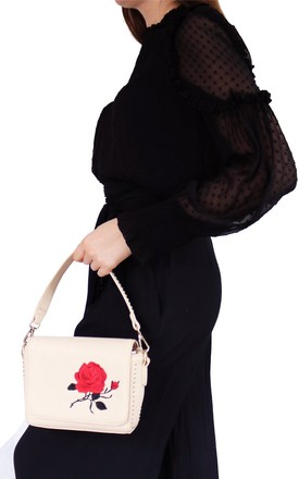 Rose Embroidered Shoulder Bag by AVAAYA