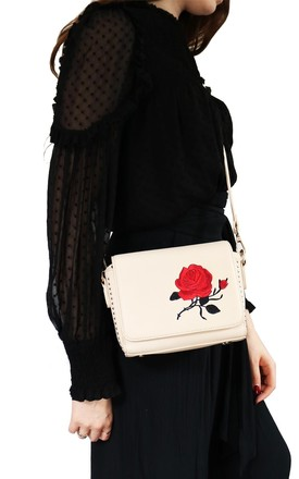 Rose Embroidered Shoulder Bag by AVAAYA Product photo