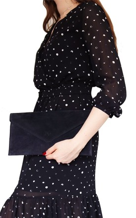 Black Suede Clutch Bag by AVAAYA Product photo