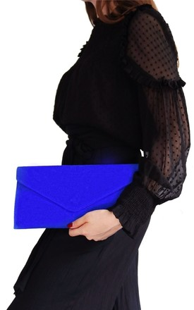 Royal Blue Suede Clutch Bag by AVAAYA Product photo