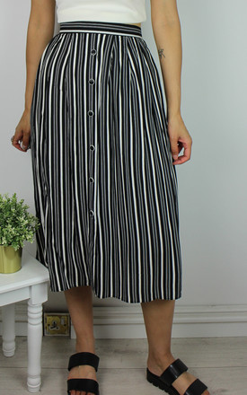 Vintage Striped Midi Skirt With Button Front Detail by Re:dream Vintage Product photo