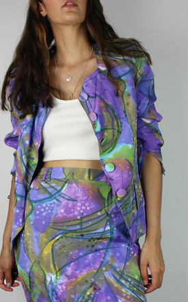 Vintage Blazer Jacket In Purple And Green Abstract Print by Re:dream Vintage Product photo