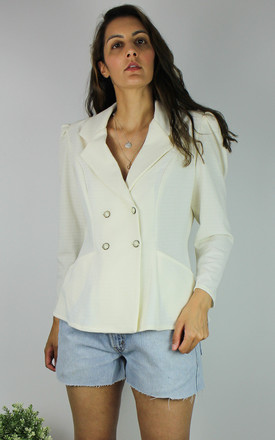 Vintage Blazer Jacket With Bow Back Detail In Cream by Re:dream Vintage Product photo