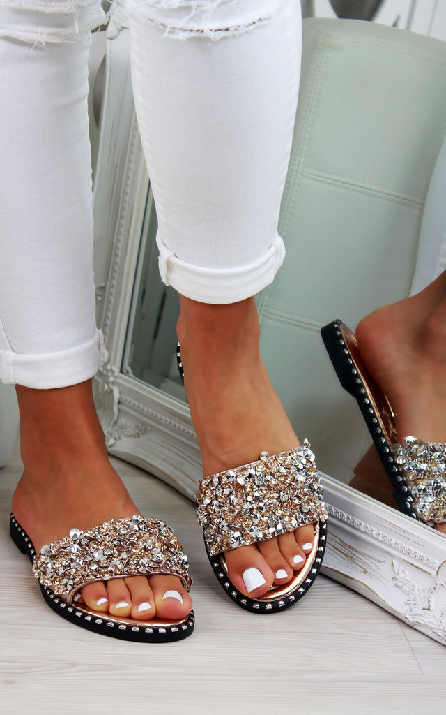 Rose Gold Studs Diamante Sliders by Larena Fashion