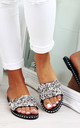 Black Studs Diamante Sliders by Larena Fashion
