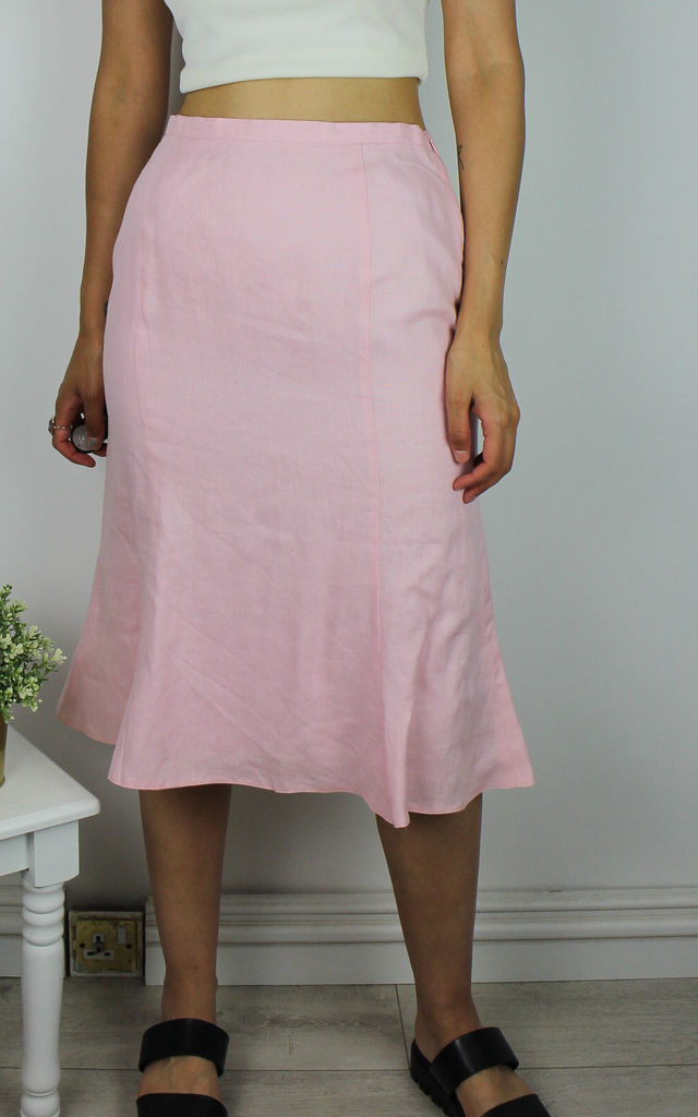 Vintage Flared Midi Skirt in Light Pink by Re:dream Vintage