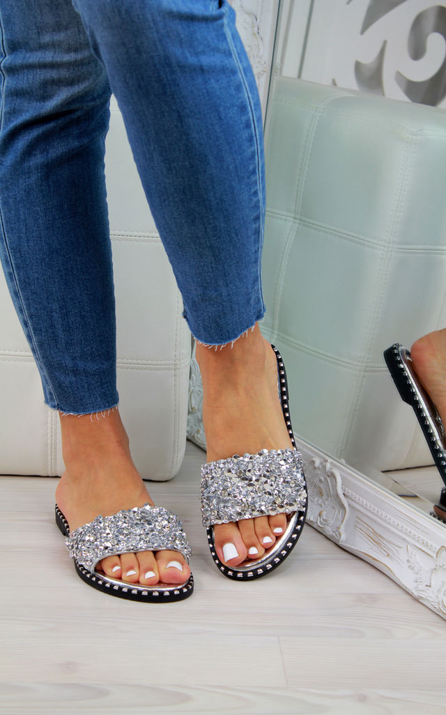 Silver Studs Diamante Sliders by Larena Fashion