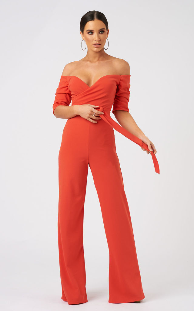506aa7ab6ce Orange Bardot Wide Leg Belted Jumpsuit | Club L London | SilkFred