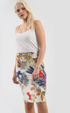 High Waisted Midi Skirt in Cream Tropical Print by Oops Fashion