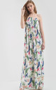 Strapless Maxi Dress in Cream Tropical Print by Oops Fashion
