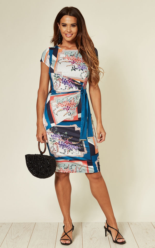 Short Sleeve Jersey Dress In Foxglove Scarf Print by Yumi