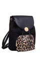 ANIMAL PRINT FRONT POCKET DRAWSTRING BACKPACK BLACK by BESSIE LONDON