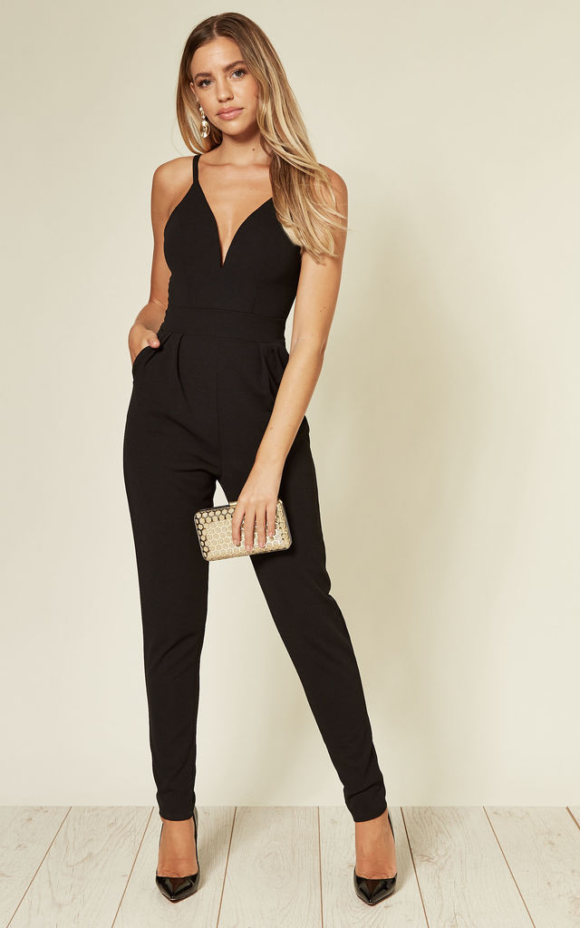 Anya Strappy Black V Neck Jumpsuit by WalG