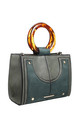 URBAN DOUBLE RING HANDLE TOTE BAG in GREEN by BESSIE LONDON