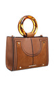 URBAN DOUBLE RING HANDLE TOTE BAG in TAN by BESSIE LONDON