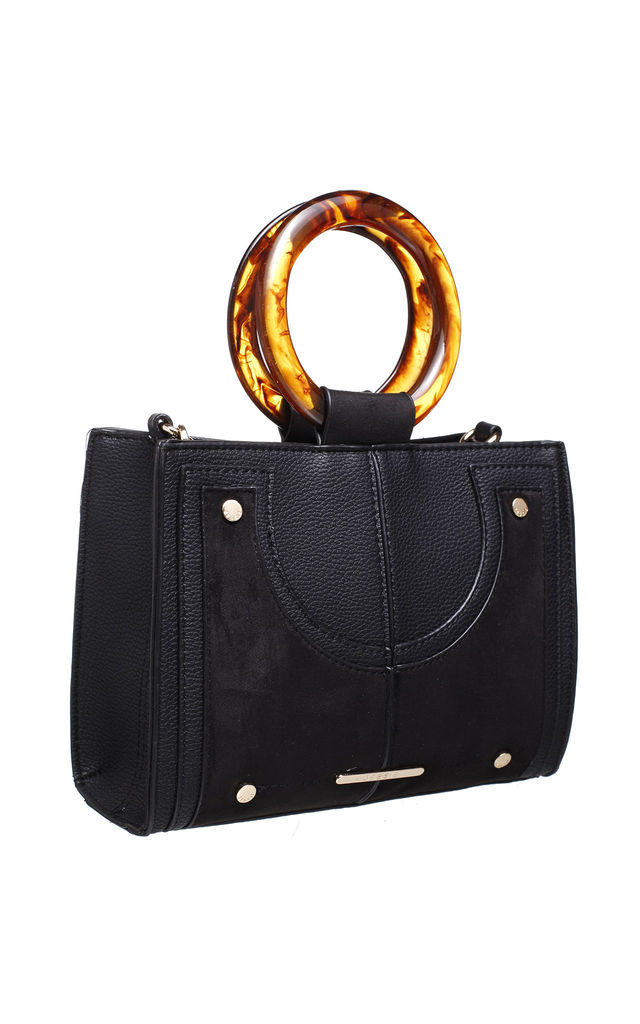 URBAN DOUBLE RING HANDLE TOTE BAG in BLACK by BESSIE LONDON