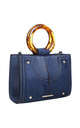 URBAN DOUBLE RING HANDLE TOTE BAG in BLUE by BESSIE LONDON